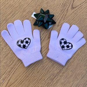 Custom youth soccer print gloves NWOT